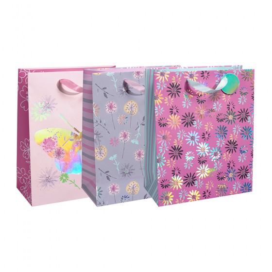 Large Pastel Petals Gift Bags (Holographic); 3 Bag Assortment