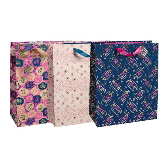 Medium Pretty Patterns Gift Bags (Pearlized Hot Stamp); 3 Bag Assorment