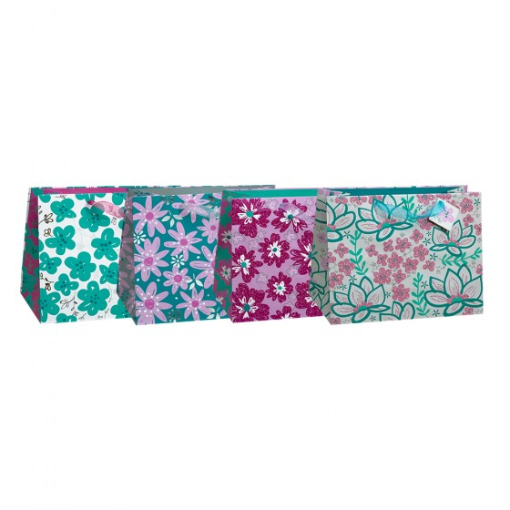 Large Horizontal Floral Doodles Gift Bags (Glitter); 4 Bag Assortment