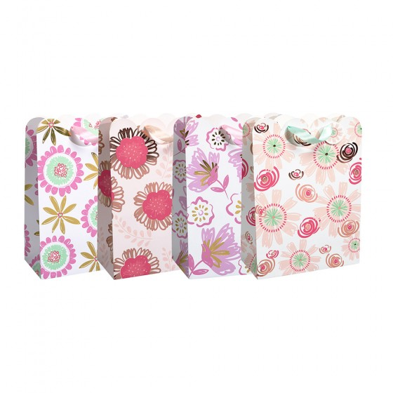 Large Modern Flowers Gift Bags (210 GSM, Die Cut & Hot Stamp); 4 Bag Assortment