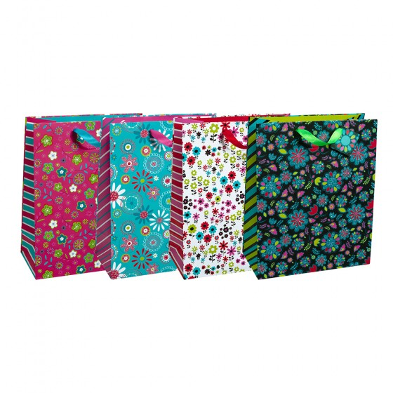 Large Geo Garden Gift Bags (Color Glitter); 4 Bag Assortment