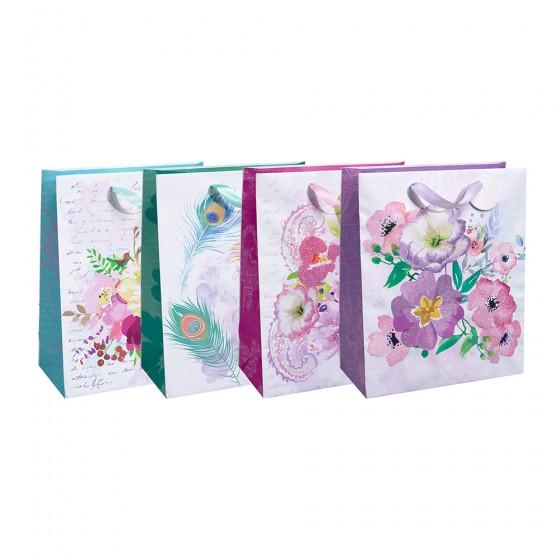 Medium Peacock & Flowers Gift Bags (Hot Stamp & Glitter); 4 Bag Assortment