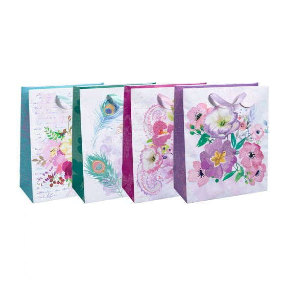 Large Peacocks & Flowers Gift Bags (Hot Stamp, Glitter); 4 Bag Assortment