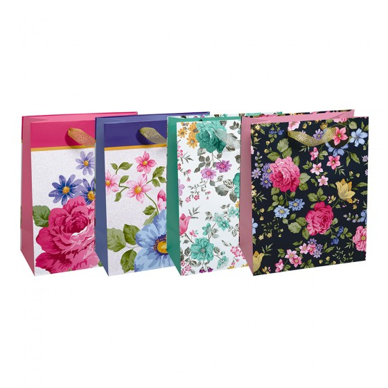 Large Floral All-Over Gift Bags (Hot Stamp, Glitter); 4 Bag Assortment