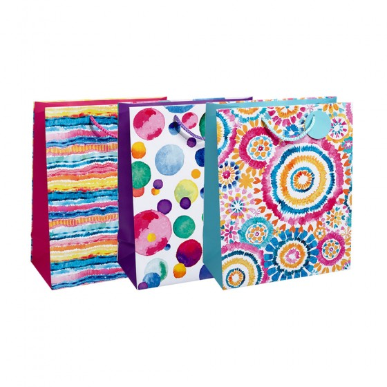 Large Pop Patterns Gift Bags (Embossed Spot UV); 3 Bag Assortment