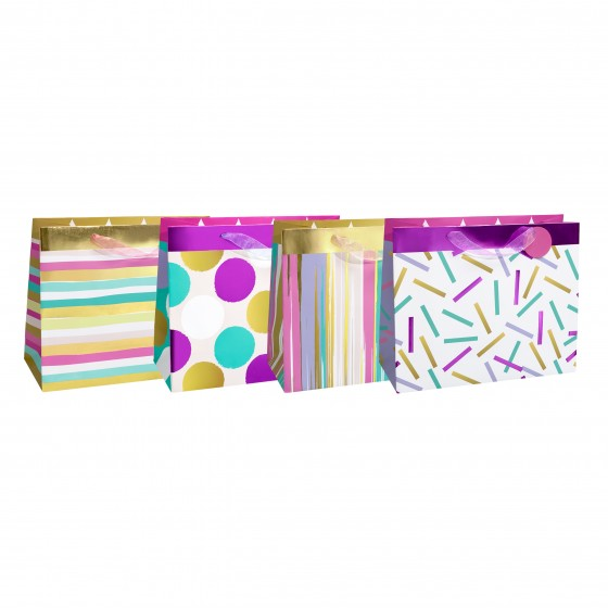 Large Horizontal Confetti Scallops Gift Bags (210 GSM, Hot Stamp); 4 Bag Assortment