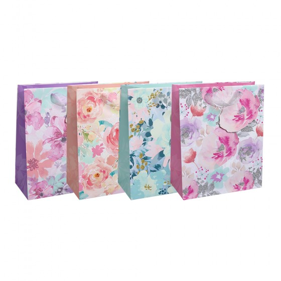 Large Watercolor Florals Gift Bags (Glitter); 4 Bag Assortment