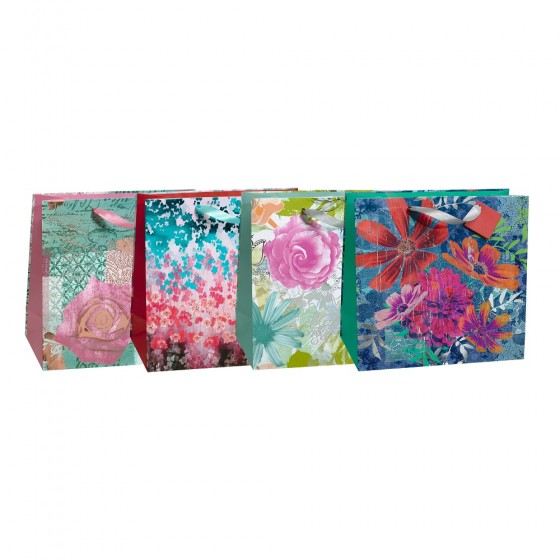 Large Square Romantic Flowers Gift Bags (Hot Stamp); 4 Bag Assortment