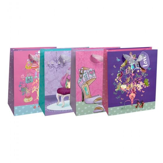 Medium Diva Glam Gift Bags (Iridescent Silver Stamp); 4 Bag Assortment