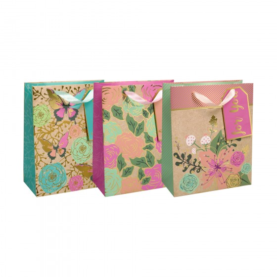 Large Floral Statement Gift Bags (210 GSM, Gold Hot Stamp); 3 Bag Assortment