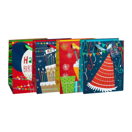 Jumbo Fun Birthday Gift Bags; 4 Bag Assortment
