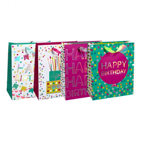Large Silver Celebration Gift bags (Silver Holographic); 4 Bag Assortment