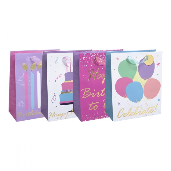 Medium Birthday Wishes Gift Bags (Gold Hot Stamp); 4 Bag Assortment