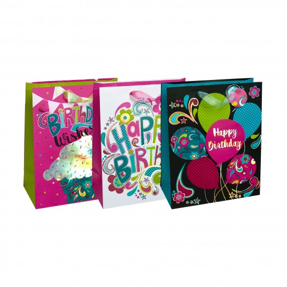Large Retro Party Gift Bags (AB Silver Hot Stamp); 3 Bag Assortment