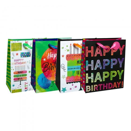Large Tye Dye Time Gift Bags (Holographic); 4 Bag Assortment