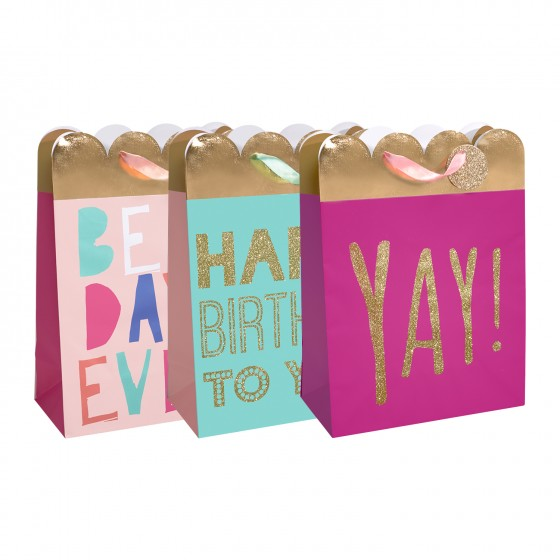 Large Best Day Ever Gift Bags (210 GSM, Hot Stamp, Glitter); 3 Bag Assortment