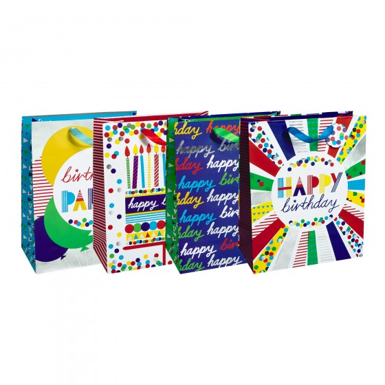 Jumbo Birthday Party Gift Bags (Silver Hot Stamp); 4 Bag Assortment