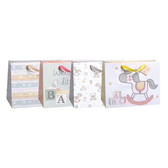 Jumbo Horizontal Welcome Little Baby Gift Bags; 4 Bag Assortment