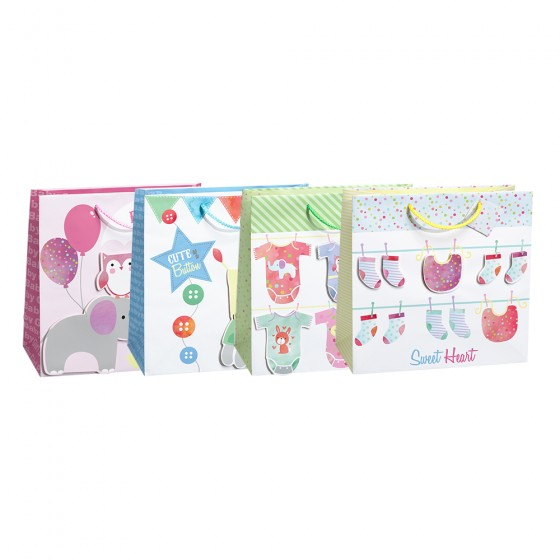 Large Square Darling Critters Gift Bags (Tip On); 4 Bag Assortment