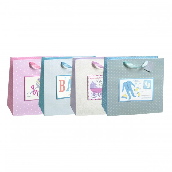 Large Square Pop Up Postage Baby Gift Bags (Tip On, Card); 4 Bag Assortment