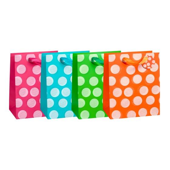 Medium Big Dots Gift Bags (210 GSM, Hot Stamp); 4 Bag Assortment