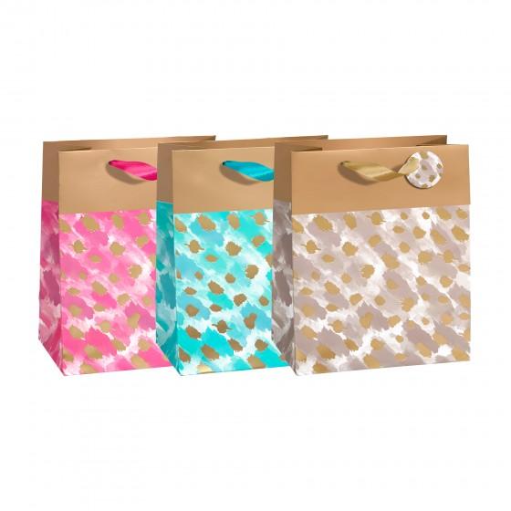 Medium Gold Cheetah Gift Bags (210 GSM, Glitter); 3 Bag Assortment