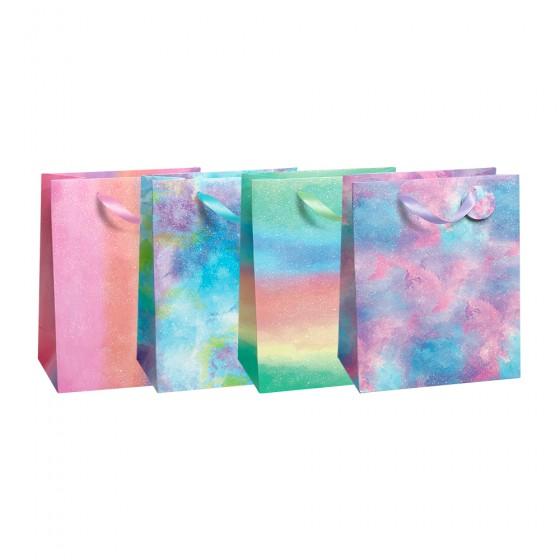 Medium Rainbow Dye Gift Bags (210 GSM, Glitter); 4 Bag Assortment