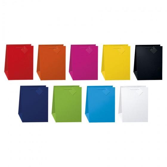 Medium Solid Colors Gift Bags; 9 Bag Assortment