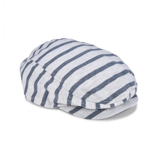 So 'Dorable Infant Boys' Heather Grey & Navy Stripe Cabbie Hat; 0-6M