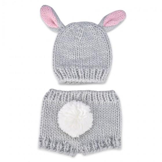 So 'Dorable Infant Girls' Grey Bunny Knit Hat & Pant Set; 0-3M