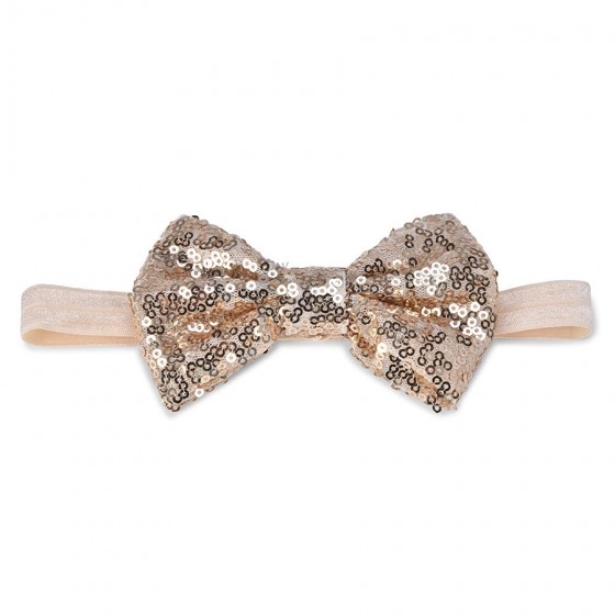 Elly & Emmy Infant Girls' Gold Sequin Bow Head Wrap
