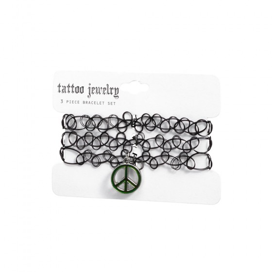 3 Piece Tattoo Jewelry Bracelet Set W Peace Sign Charm
