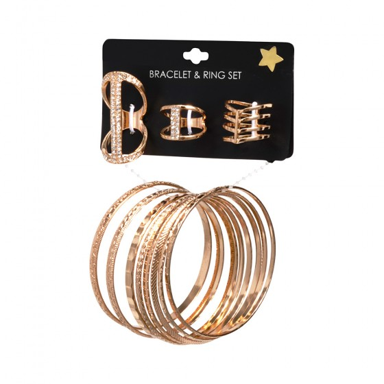 Casted Gold Rings & Bangles Set