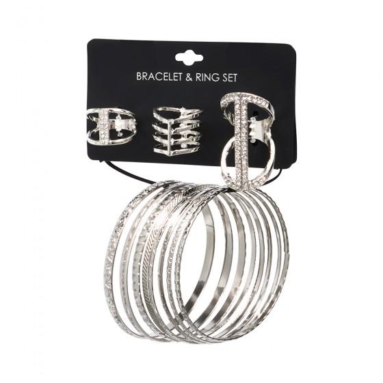 Casted Shiny Rhodium Rings & Bangles Set