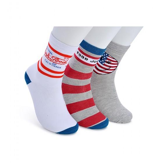 Junk Food Ladies 3pk California Love Crew Socks; Size 9-11