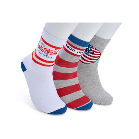 Junk Food Mens 3pk California Love Crew Socks; Size 10-13
