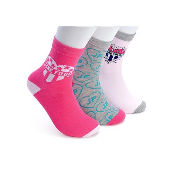 Junk Food Ladies 3pk Love Crew Socks; Sizes 9-11