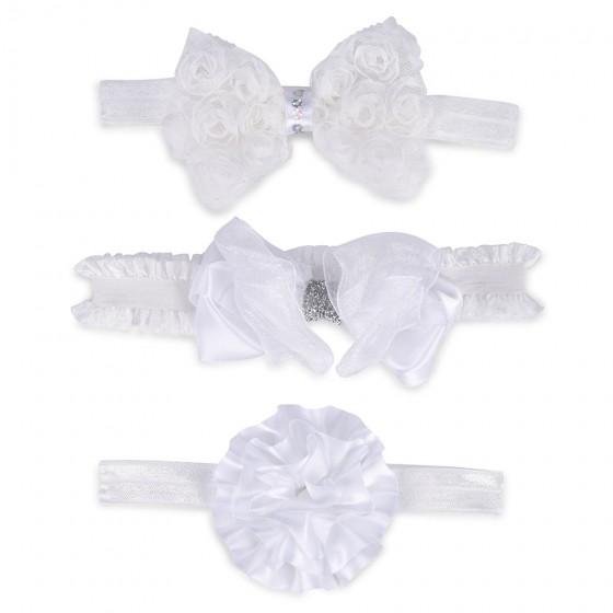 Little Me Infant Girls' 3pc White Head Wrap Set
