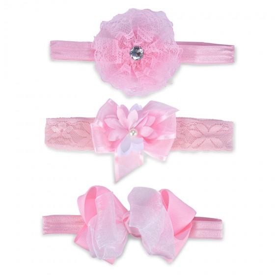 Little Me Infant Girls' 3pc Pink Head Wrap Set
