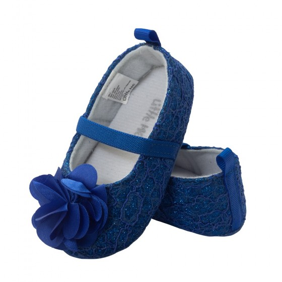Little Me Medieval Blue Glitter with Lace Overlay, Lace Ballet Baby Girl Shoe; Assorted Sizes, 0-6, 6-9 & 9-12 Months