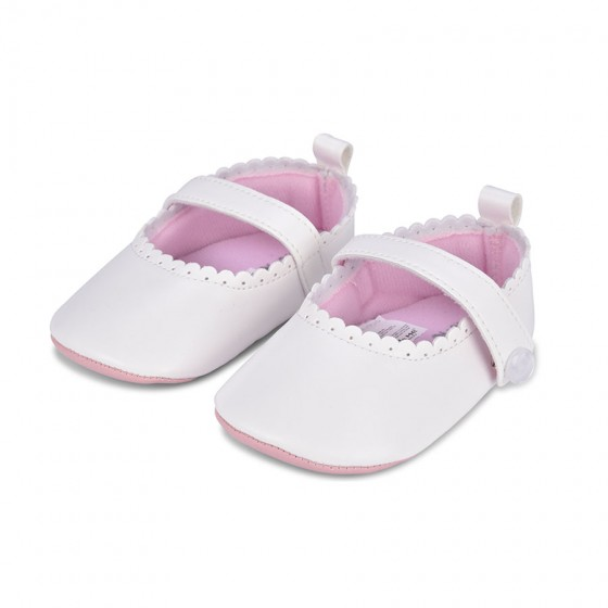 Little Me Infant Girls' Mary Jane Bright White Leather Shoes; 9-12 Months