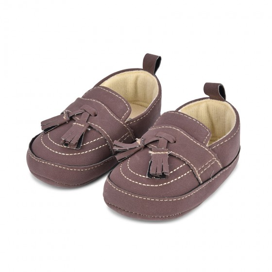 Little Me Infant Boys' Brown Suede Tassel Loafer; 6-9 Months