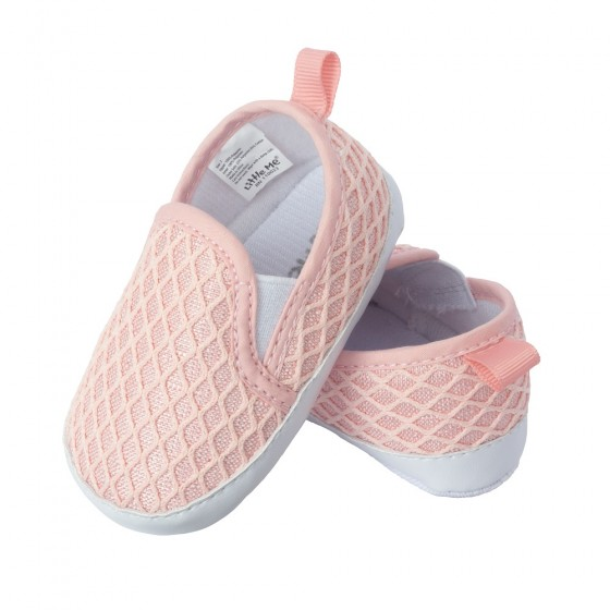 Little Me Slip on Faux Knit Twin Gore Baby Girl Shoes; Assorted Sizes, 0-6, 6-9 & 9-12 Months