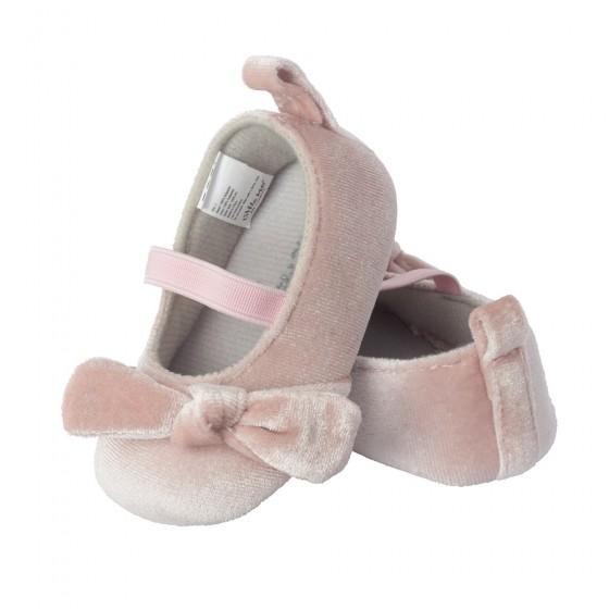 Little Me Pink Blush Velvet Ballet Baby Girl Shoe; Assorted Sizes, 0-6, 6-9 & 9-12 Months