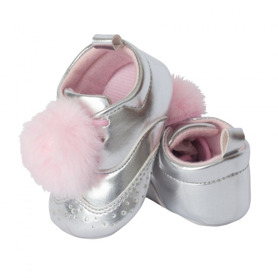 Little Me Silver PU Wingtip with Pink Pom Pom; Assorted Sizes, 0-6, 6-9 & 9-12 Months