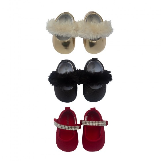 Little Me 3 Pack Soft Sole Crib Baby Girl Shoes- Baby Girls Mary Jane Dress Shoes; 0-6 Months