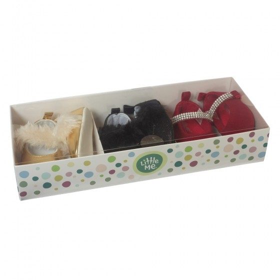 Little Me 3 Pack Soft Sole Prewalker Baby Girl Shoes- Baby Girls Mary Jane Dress Shoes; 6-9 Months
