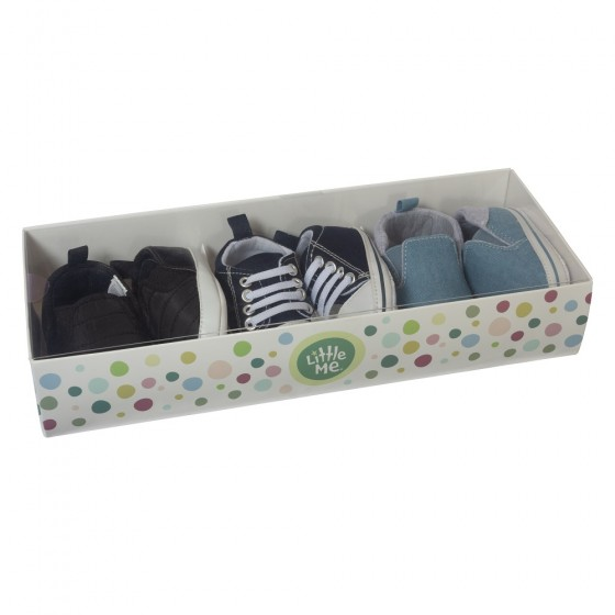 Little Me 3 Pack Soft Sole Prewalker Baby Boy Shoes- Baby Boys Sneakers; 6-9 Months