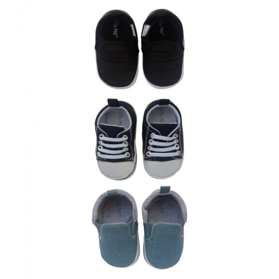 Little Me 3 Pack Soft Sole Crib Baby Boy Shoes- Baby Boys Sneakers; 0-6 Months