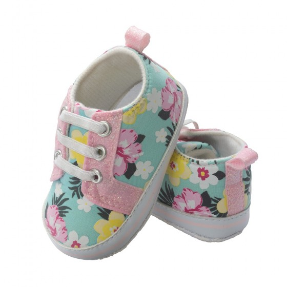 Little Me Printed Textile Flower Baby Girl Sneaker; Assorted Sizes, 0-6, 6-9 & 9-12 Months